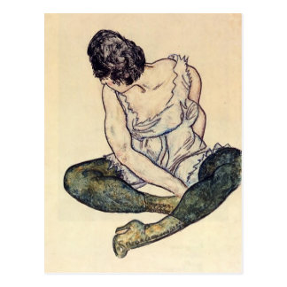 Egon Schiele- Seated Woman with Green Stockings Postcard