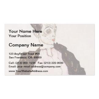 Egon Schiele-Self Portrait in Lavender & Dark Suit Business Card Template
