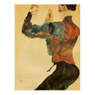 Egon Schiele- Self Portrait with Raised Arms Postcard