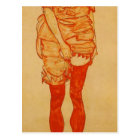Egon Schiele- Standing Woman in Red Postcard