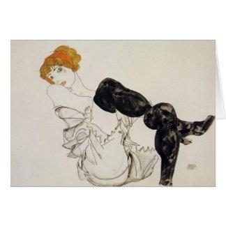 Egon Schiele- Woman in Black Stockings Card