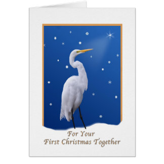 Egret and Star Christmas for First Christmas Card