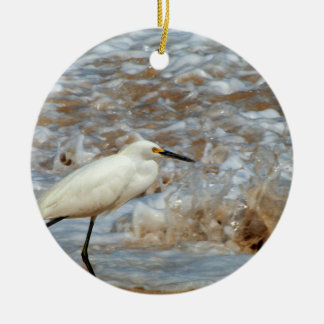 Egret and Wave Splash Ceramic Ornament