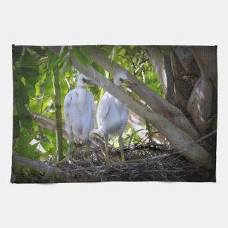 Egret Babies Hand Towel