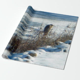 Egret Frozen Lake Wrapping Paper