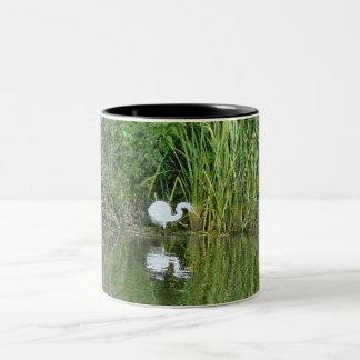 Egret Heron Bird Wildlife Animal Photography Two-Tone Coffee Mug