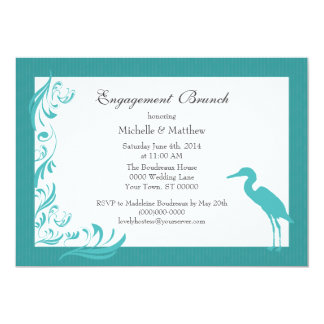 Egret / Heron Teal Engagement Brunch Card