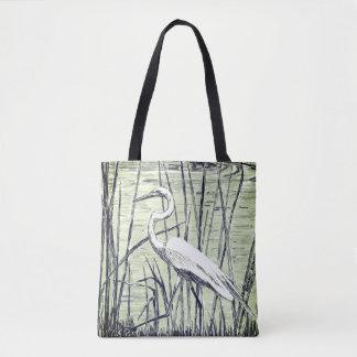 Egret in Blue Tote Bag