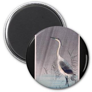 Egret in Rain by Seitei Watanabe 1851- 1918 Magnet