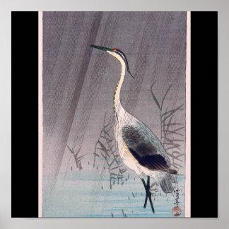 Egret in Rain by Seitei Watanabe 1851- 1918 Poster