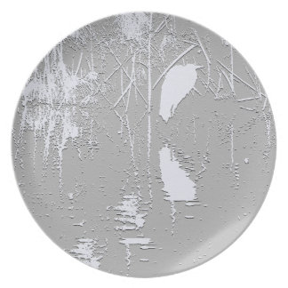 Egret in Reeds Art Plate