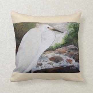 Egret In The Mountain Throw Pillow