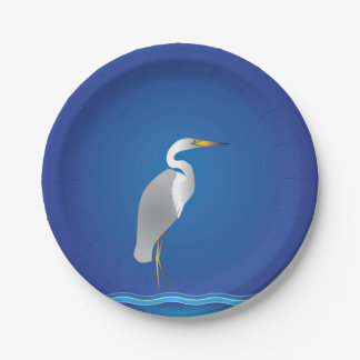 Egret on the Beach 7 Inch Paper Plate