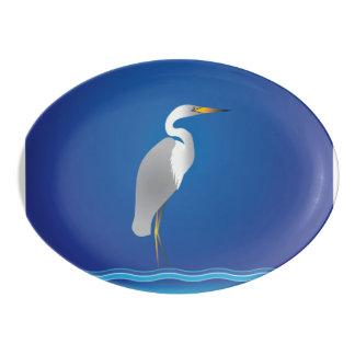 Egret on the Beach Porcelain Serving Platter
