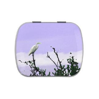 egret on tree painting purple