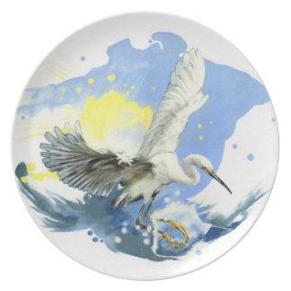 Egret Splashdown Plate