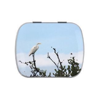 egret standing on tree painting