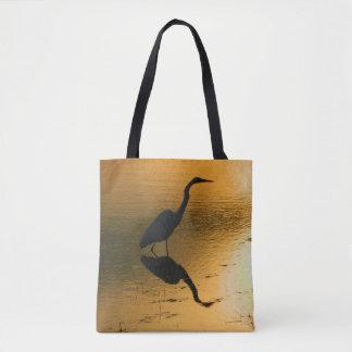 Egret Sunset Printed Tote Bag