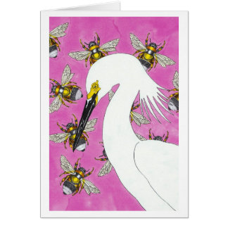 Egret with Bumblebees Note Card