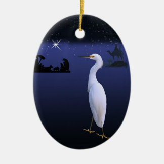 Egret with Nativity Christmas Ornament