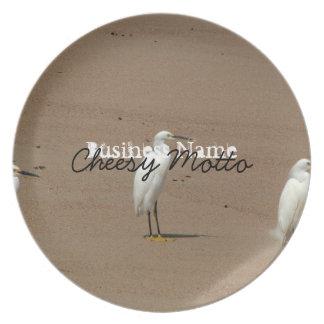 Egrets Loitering on Beach Dinner Plate