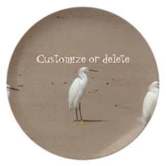 Egrets Loitering on Beach Plate