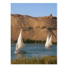 Egypt, Aswan, Nile River, Felucca sailboats, Postcard