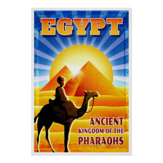 Egypt Camel and Pyramids Vintage Travel Poster