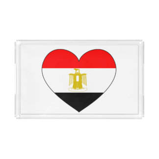 Egypt Flag Heart Acrylic Tray