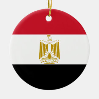 Egypt National World Flag Round Ceramic Ornament