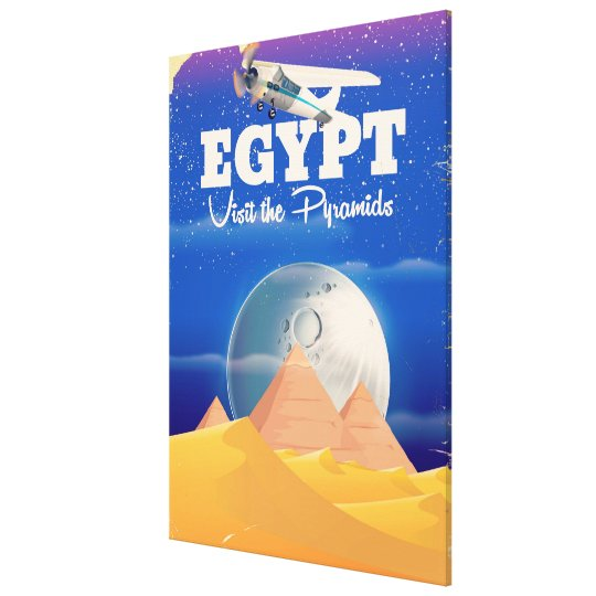 Egypt - Visit the Pyramids Vintage travel poster Canvas Print