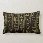 Egyptian Ancient Gold hieroglyphs on black Lumbar Pillow