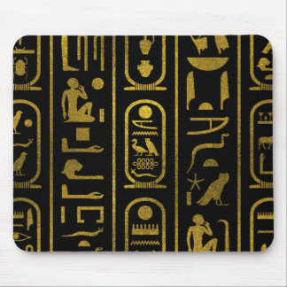 Egyptian Ancient Gold hieroglyphs on black Mouse Pad