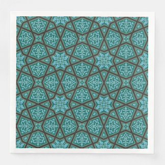 Egyptian arabic geometric in vintage blue and grey paper napkins
