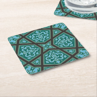 Egyptian arabic geometric in vintage blue and grey square paper coaster