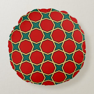 Egyptian arabic geometric pattern in red and green round pillow