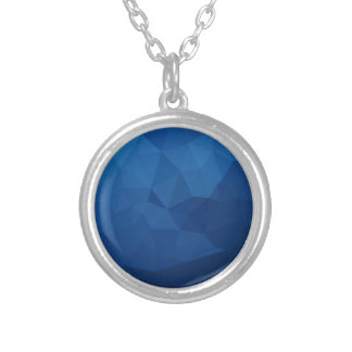 Egyptian Blue Abstract Low Polygon Background Silver Plated Necklace
