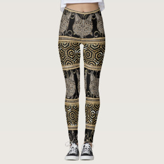 Egyptian Bohemian Tribal Cat & Gold designs Leggings