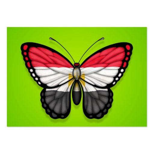 Egyptian Butterfly Flag on Green Business Cards
