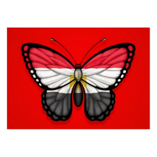 Egyptian Butterfly Flag on Red Business Card Template