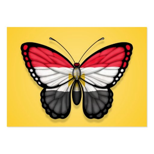 Egyptian Butterfly Flag on Yellow Business Card Templates