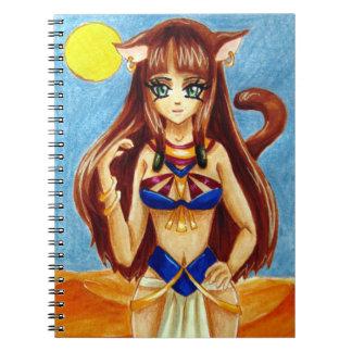 Egyptian Catgirl in the desert Spiral Note Book
