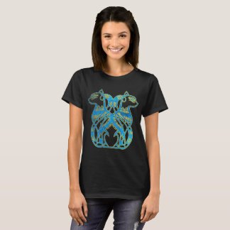 Egyptian Cats Gold and blue stained glass T-Shirt