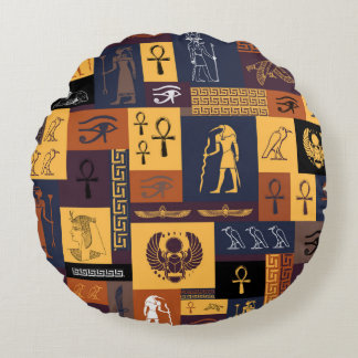 Egyptian Collage Round Pillow