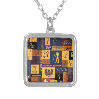 Egyptian Collage Silver Plated Necklace