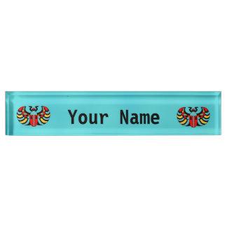 Egyptian Colorful Bold Vibrant Scarab Beetle Nameplate