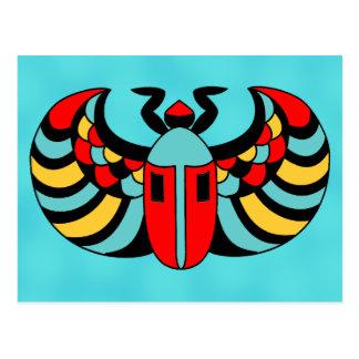 Egyptian Colorful Bold Vibrant Scarab Beetle Postcard