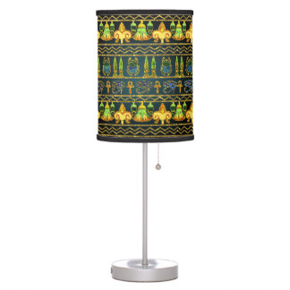 Egyptian Colorful Pattern in gold and metallic Table Lamp