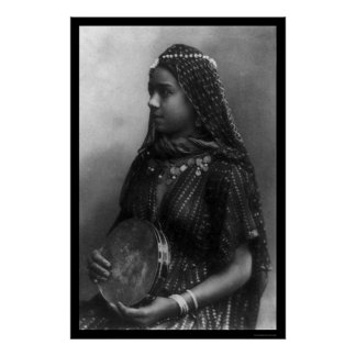 Egyptian Dancing Girl with Her Tambourine 1904 Poster