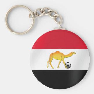 Egyptian desert camel soccer ball flag keychain
